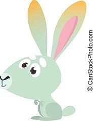 animals., vektor, ábra, tanya, bunny., karikatúra, mosolygós, rabbit., csinos