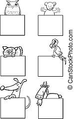 animals with cards black and white artwork