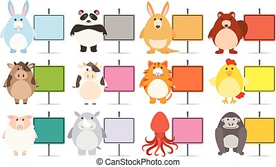 Animals with Colourful Blank Banner