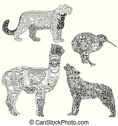 animals with ethnic pattern - Alpaca, wolf, kiwi, snow...