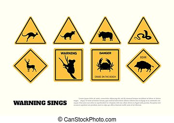 Animals yellow warning signs