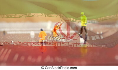 Animation of financial data processing with an Iranian flag waving over construction site figourines in the background. Global business finance network interface concept digital composite