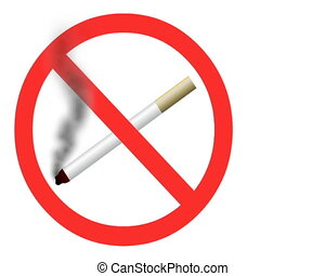 Animated 2D No smoking sign with moving loopable smoke