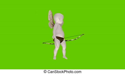 Animated 3d Cartoon Cupid with Green screen background