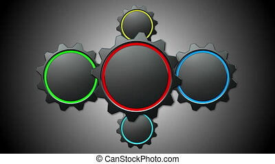 Animated 3d gears on grey background.