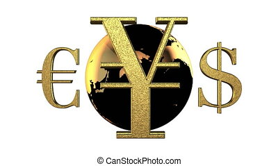 Animated 3d world golden currencies rotate around the black-yellow Earth. White background. 4k. Seamless loop. Alpha matte.