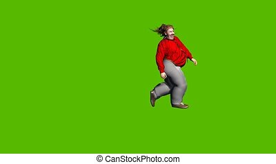 animated 3d young very fat man run arround on green background