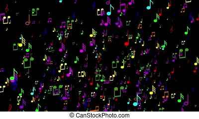 Animated a lot of colorful music notes. Black background