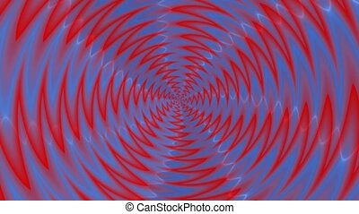 Animated abstract illustration of blue red propeller rotating on white background. Colorful animation, seamless loop.