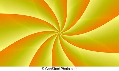 Animated abstract illustration of bright yellow orange spirals rotating on white background. Colorful animation, seamless loop.