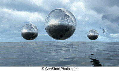 Animated abstract liquid transparent sphere above water in puzzle pattern. 3D rendering 4K