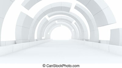 Animated abstract modern architecture background, empty open space interior. 3D