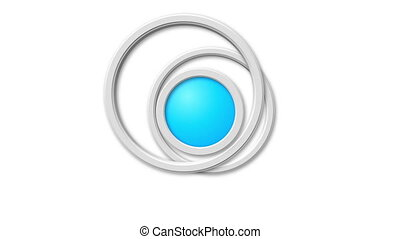 Animated abstract rings on white background.