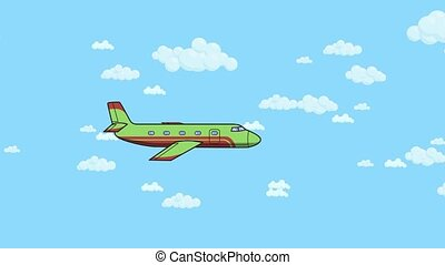 Animated airplane flying in and out on blue sky background...