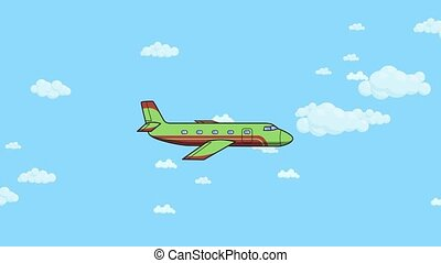 Animated airplane flying through blue sky with white clouds....