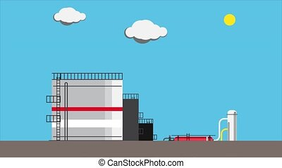 Animated appearance of a petroleum processing plant. Oil refining concept. 4k 60 fps 2d animation