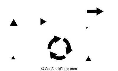 Animated arrows in different directions. Move straight,...
