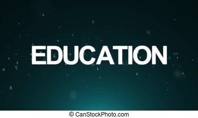 Animated background with letters. Concept education