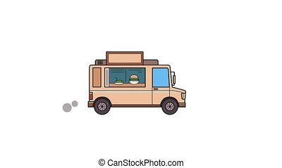 Animated beige food truck, side view. Flat animation....