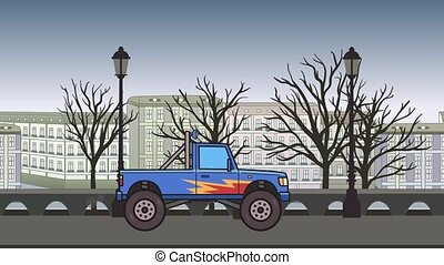 Animated big wheel monster truck riding through autumn city. Moving bigfoot truck on city park background. Flat animation.