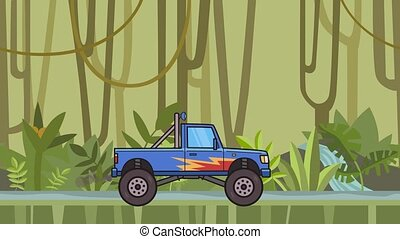 Animated big wheel monster truck riding through rainforest. Moving bigfoot truck on jungle and river background. Flat animation.