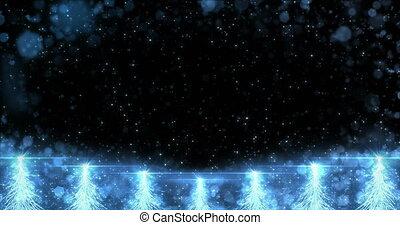 Animated Blue Christmas Fir Tree Star background seamless loop 4k resolution.