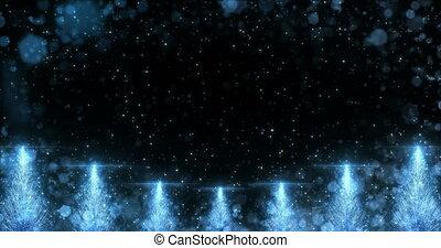Animated Blue Christmas Pine Tree Star background seamless loop 4k resolution.