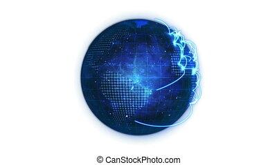 Animated blue planet globe