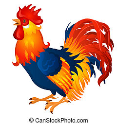 Animated brightly colored cock isolated on a white...