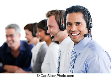 Animated business people working in a call center