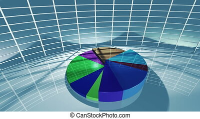 Animated business pie chart for economic concept 4K - A 3D...