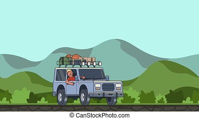 Animated car with luggage on the roof and smiling guy behind the wheel riding through green valley. Moving vehicle on hilly landscape background. Flat animation.