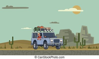 Animated car with luggage on the roof and smiling guy behind the wheel riding through the canyon desert. Moving vehicle on mountain landscape background. Flat animation.
