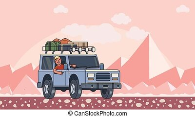 Animated car with luggage on the roof and smiling guy behind the wheel riding through the desert. Moving vehicle on peaky mountain landscape background. Flat animation.