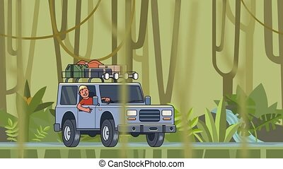 Animated car with luggage on the roof and smiling guy behind the wheel riding through the rainforest. Moving vehicle on jungle forest background and jungle vines hanging on foreground. Flat animation.