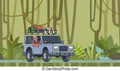Animated car with luggage on the roof and smiling guy behind the wheel riding through the rainforest. Moving vehicle on jungle forest background. Flat animation.