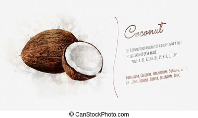 On white paper appears Coconut and the text is telling about the energy value and useful properties.
