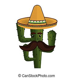 animated cartoon cactus with mexican hat and moustache