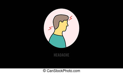 Animated cartoon character man showing headche the symptoms ...