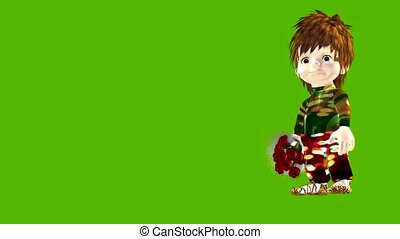 Animated cartoon cute small boy with bunch of flowers - ...