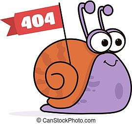 Animated Cartoon Funny Smiling Lazy Snail Logo - Character...