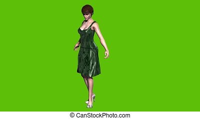 animated cartoon model looks in mirror. Green background - ...