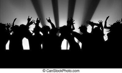 Animated cartoon. People dancing. Looped