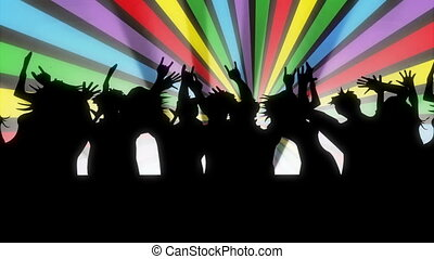 Animated cartoon. People dancing.