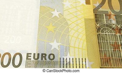 Animated CGI 200 euros banknotes