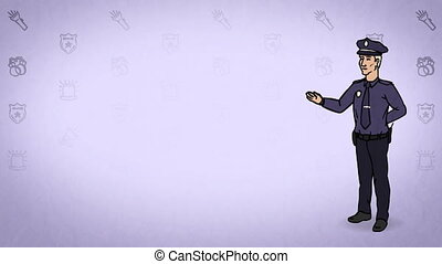 Animated Character Policeman or Cop stands in full growth and says, curve contour, violet background