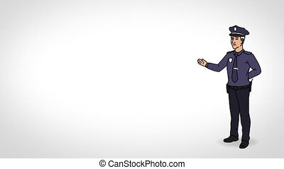 Animated Character Policeman or Cop stands in full growth and says, smooth contour, white background