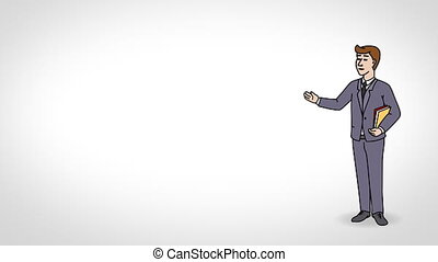 Animated Character Student or Learner stands in full growth and says, smooth contour, white background