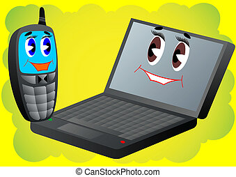 Cell phone and laptop - Animated characters. Cell phone and...