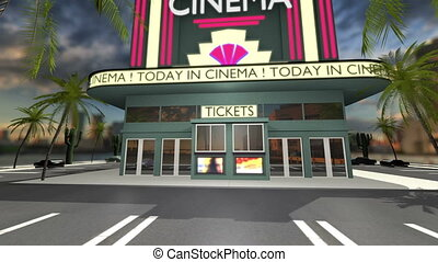 Animated cinema with opening doors and green screen